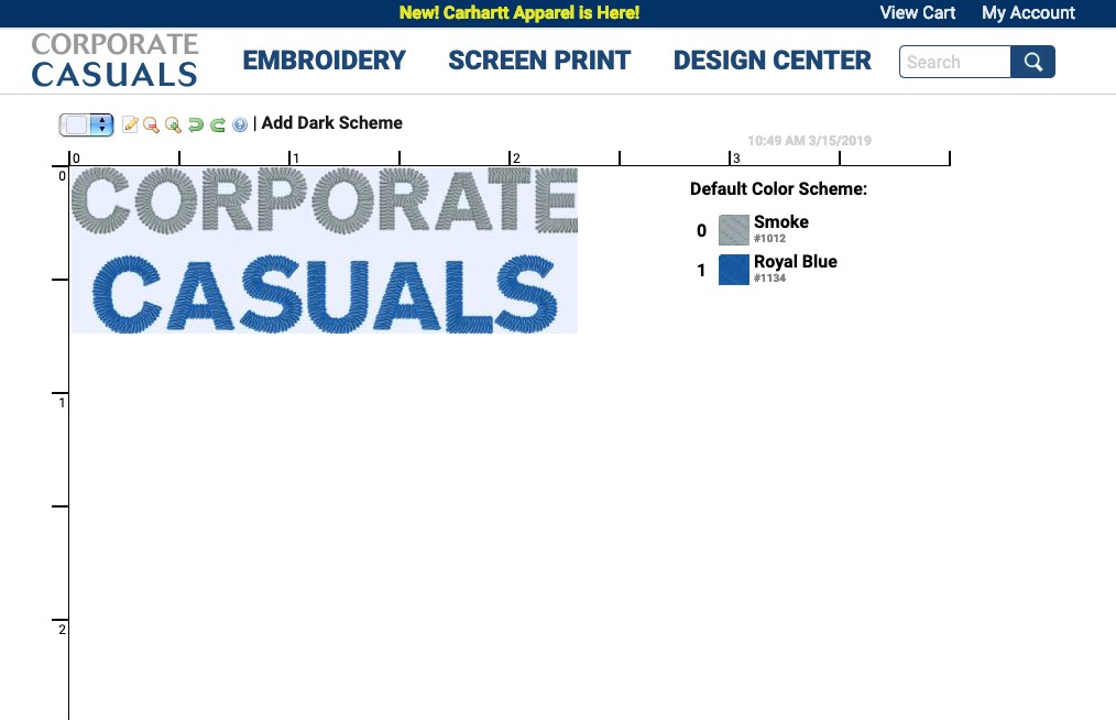 Corporate Casuals embroidery proofer