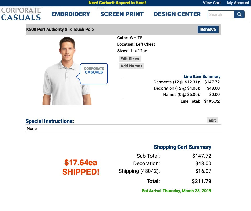 Corporate Casuals K500 12 units for $17.64 each