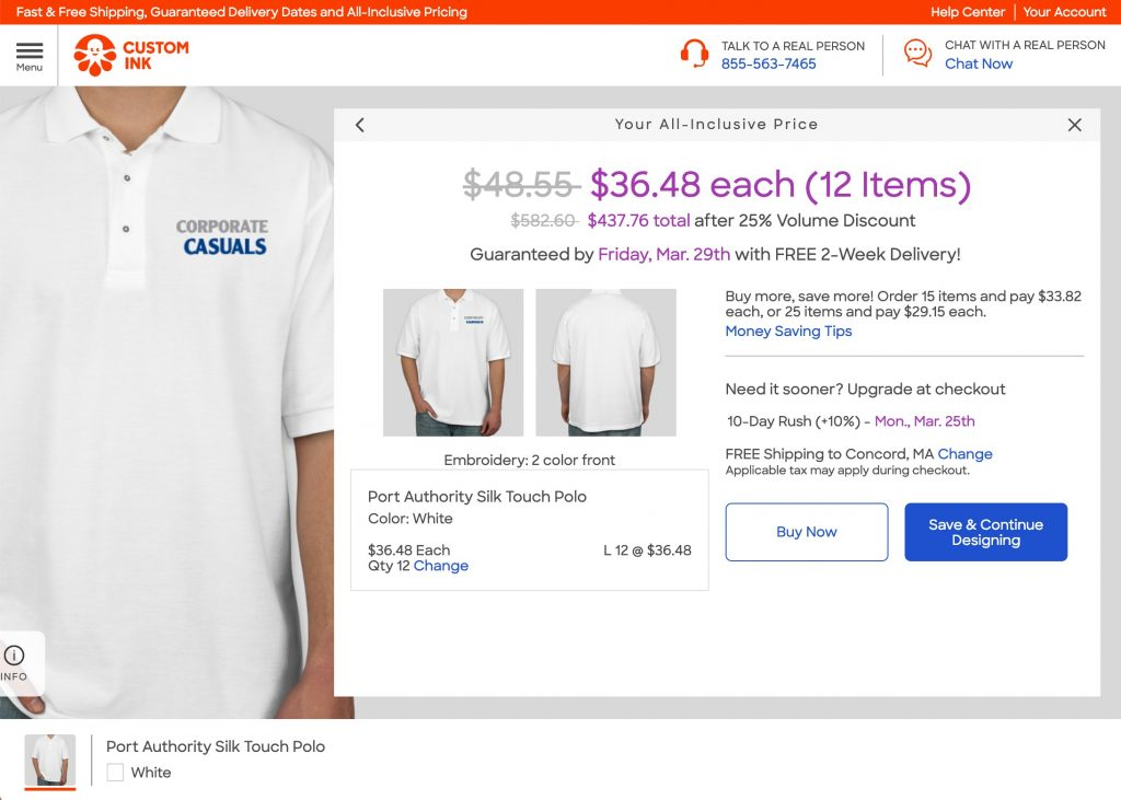 CustomInk Silk Touch Polo $36 for 12 units