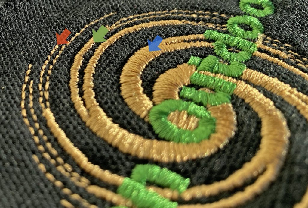 embroidered logo with lots of fine detail