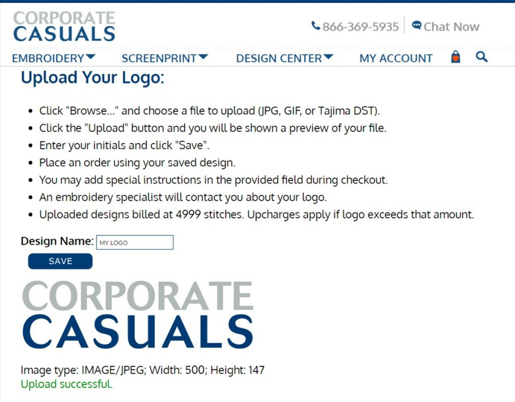 corporate casuals uploader page