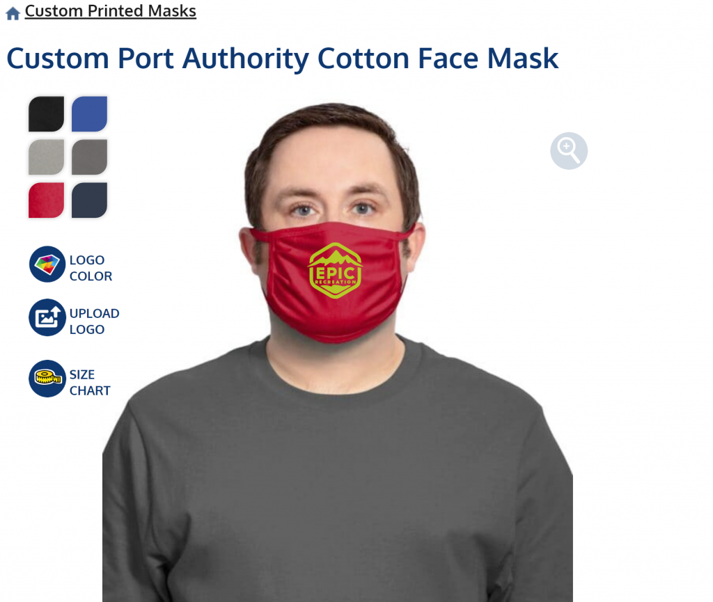 upload a logo for your face mask