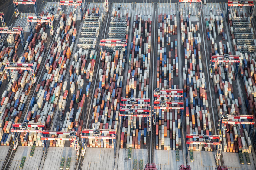 shipping containers waiting to load