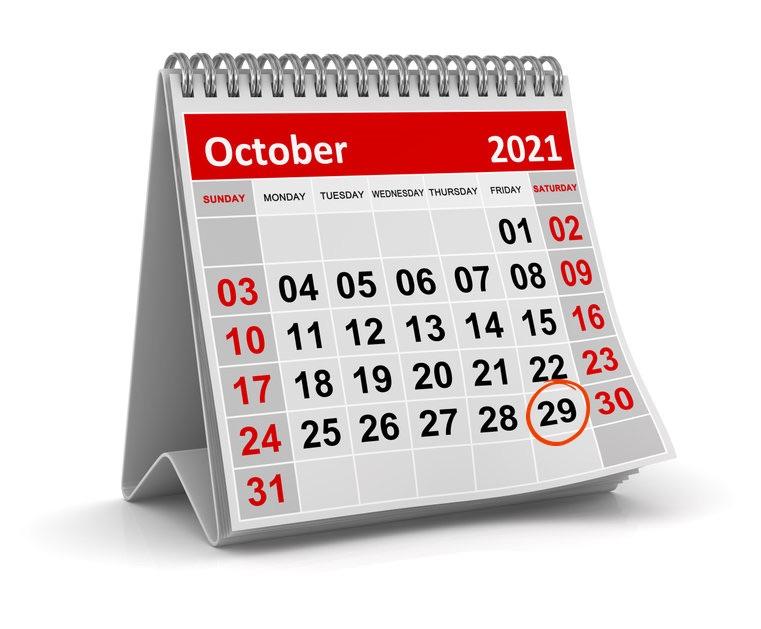 calendar with oct 29 circled